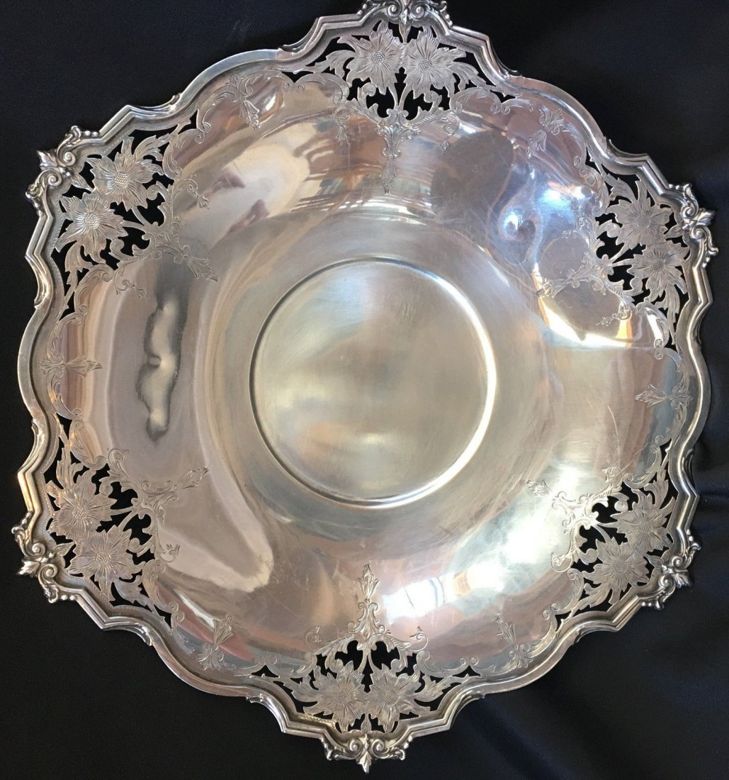 Antique Sterling Silver Platter ALVIN Flower Design 12""