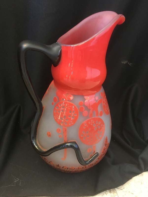 "Art Deco Cameo Pitcher Signed ""Charder"""