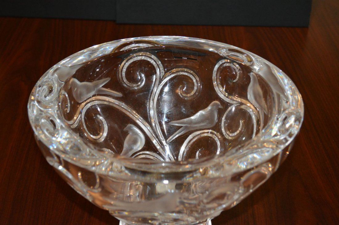 Lalique Verone Glass Bowl French Art Birds & Vines - 2