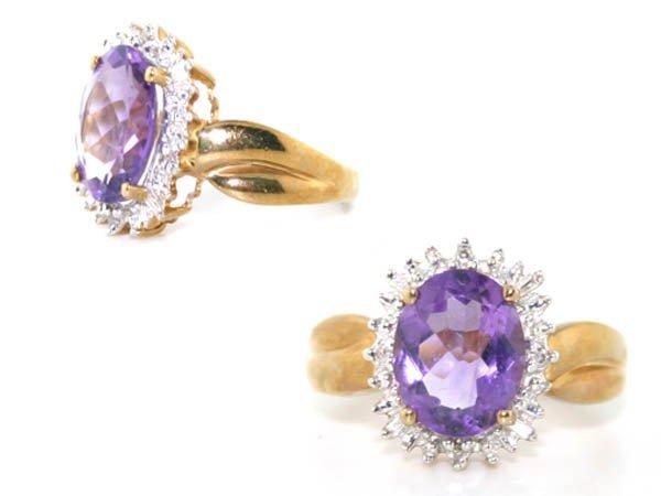 12: 3.50 CT Diamond Amethyst 10Kt Gold Ring
