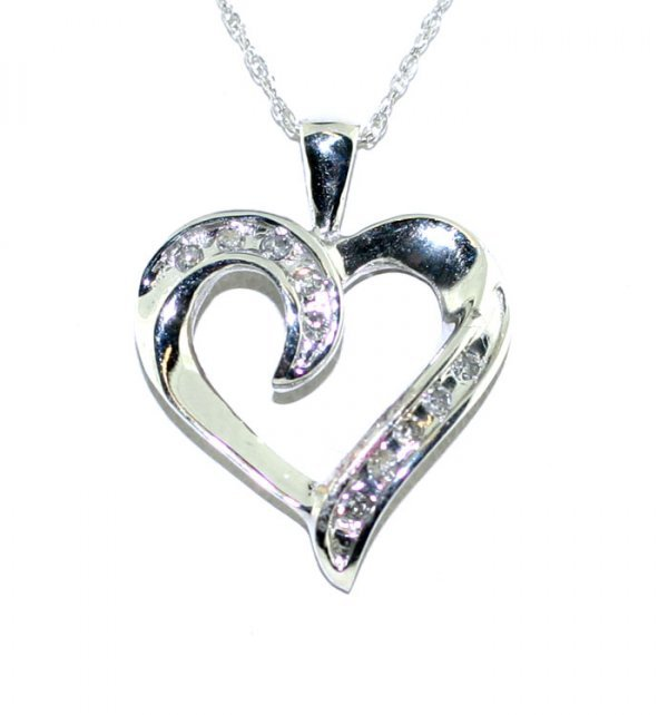 13: Diamond 10Kt White Gold Heart Pendant