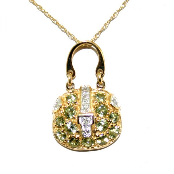 16: 1 Ct Diamond and Peridot Gold Purse Pendant