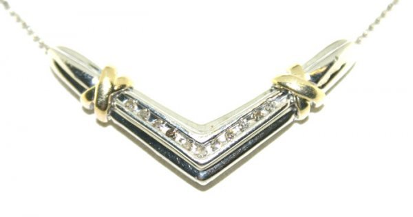 18: 0.35 Ct Diamond Two Tone Gold Necklace