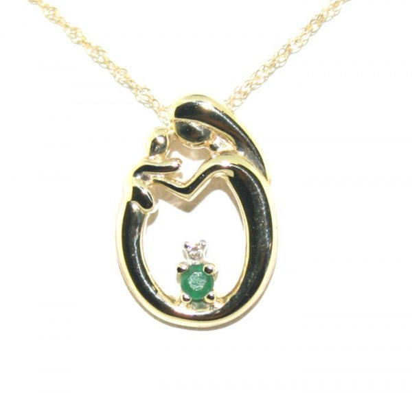 19: Diamond Emerald Mother and Child Pendant
