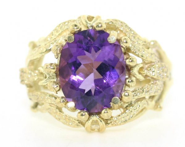 23: 3 CT Amethyst Gold Plated Silver Ring
