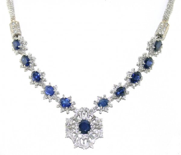 46: 12Ct Diamond and Sapphire 14K Necklace