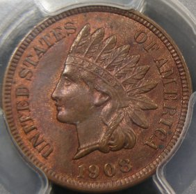Scarce 1908-S Indian Cent, PCGS MS64 RB