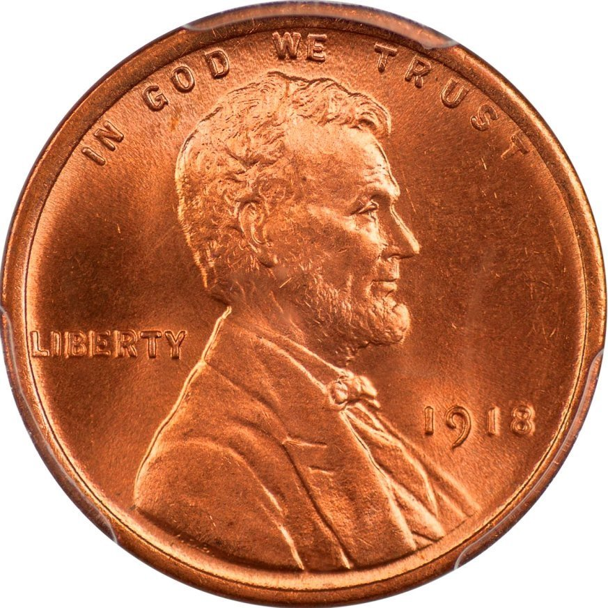 1918 Lincoln Cent, PCGS MS66 RD, CAC