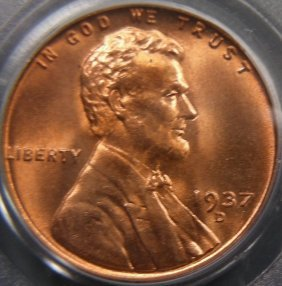 Superb Gem 1937-D Cent, PCGS MS67 Red