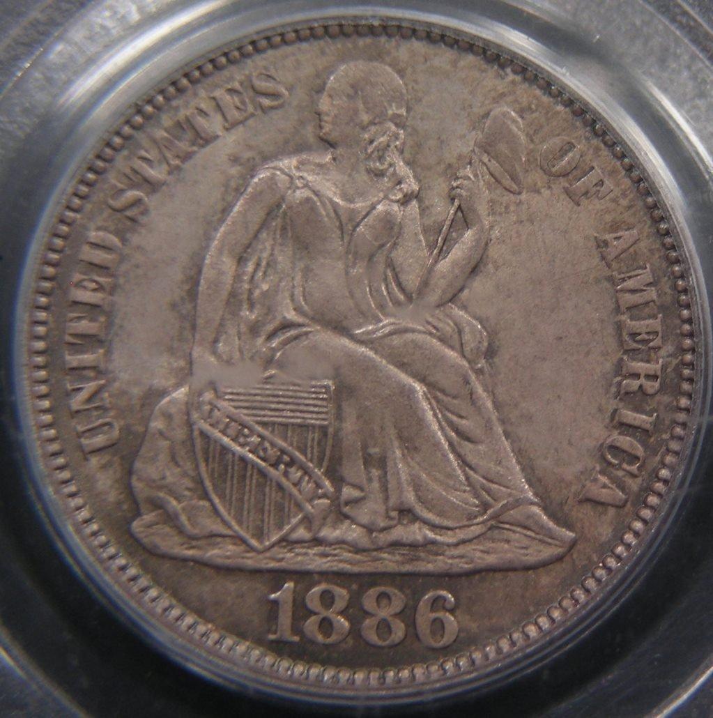 Original 1886 Seated 10C, PCGS MS65, CAC