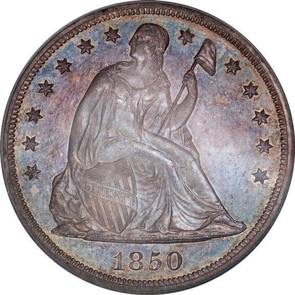 Rare 1850 Seated Liberty Dollar, PCGS MS63 (67424)