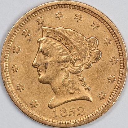 1852 $2.5 Gold Piece, Raw XF (65938)
