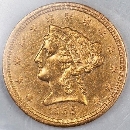 1856 $2.5 Gold Piece, Raw XF/AU (66688)