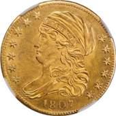 Scarce 1807 $5, NGC MS62, BD-8, R.2 (67172)