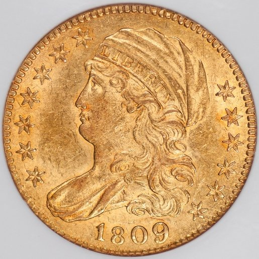 Attractive 1809/8 $5 Gold, NGC AU58 (41610)