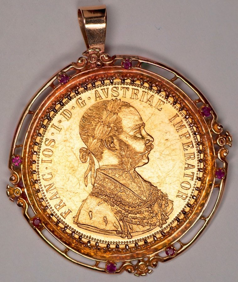 Large 4 Ducat Gold Coin in 14K Pendant or Brooch