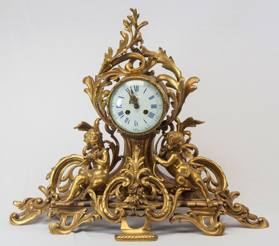 Large French Empire Gilt Bronze Figural Mantle Clock