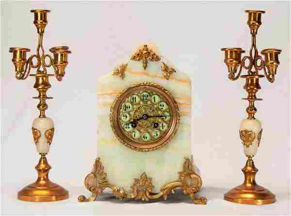 Three Piece French White Marble Mantle Clock Set