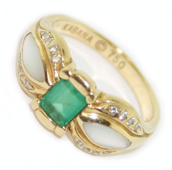 18k y/gold diamond & emerald ring