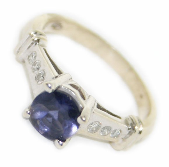14k white gold  diamond & tanzanite  ring