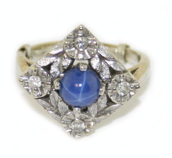 10k white gold diamond & star sapphire ring