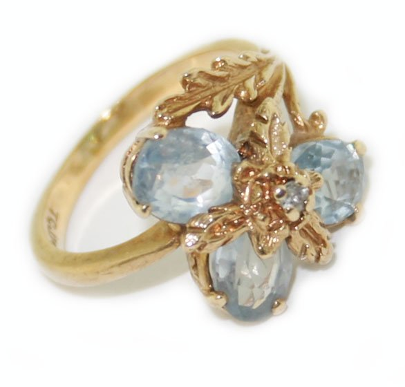 10k yellow gold diamond & aquamarine ring
