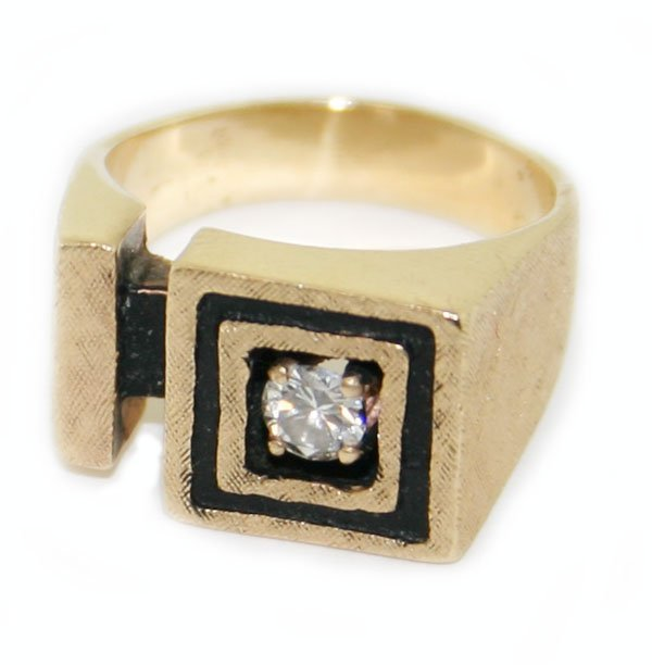 14k yellow gold diamond  ring  12 gr