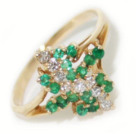 14k yellow gold diamond & tsavorite ring