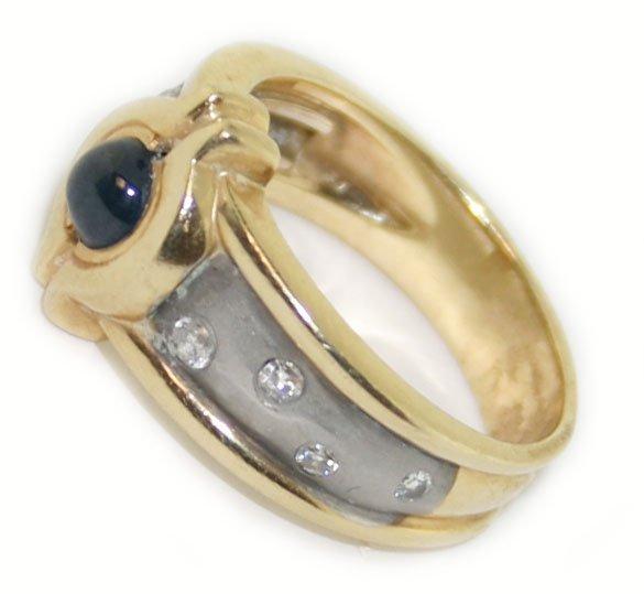 14k y/w gold diamond & sapphire ring