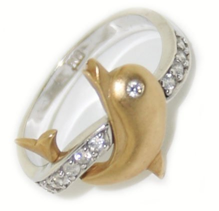 10k w/y  gold  diamond  ( dolphin )  ring