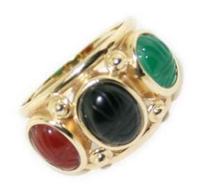 14k yellow gold multi color  agate  ring