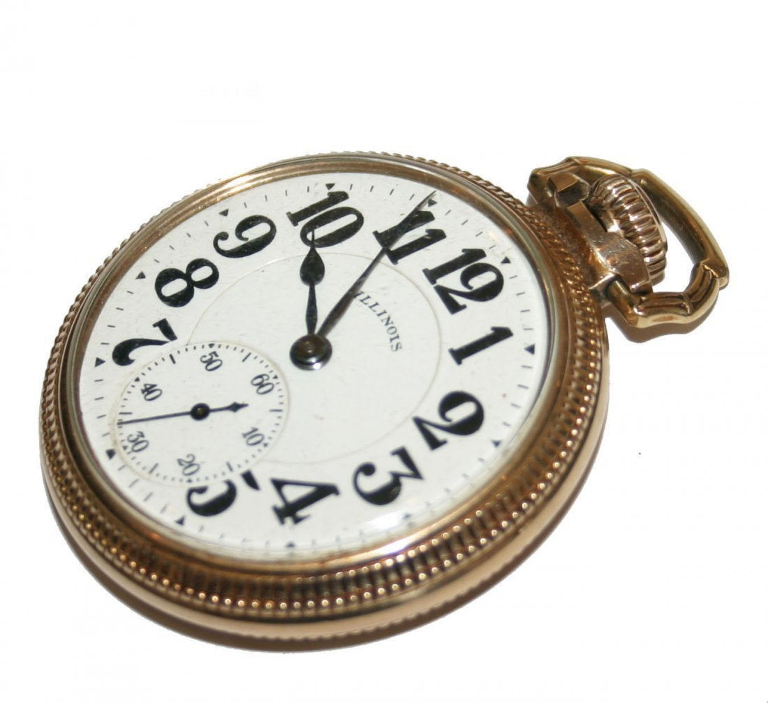 Illinois Men's Gold Filled Large Pocket Watch (3795)