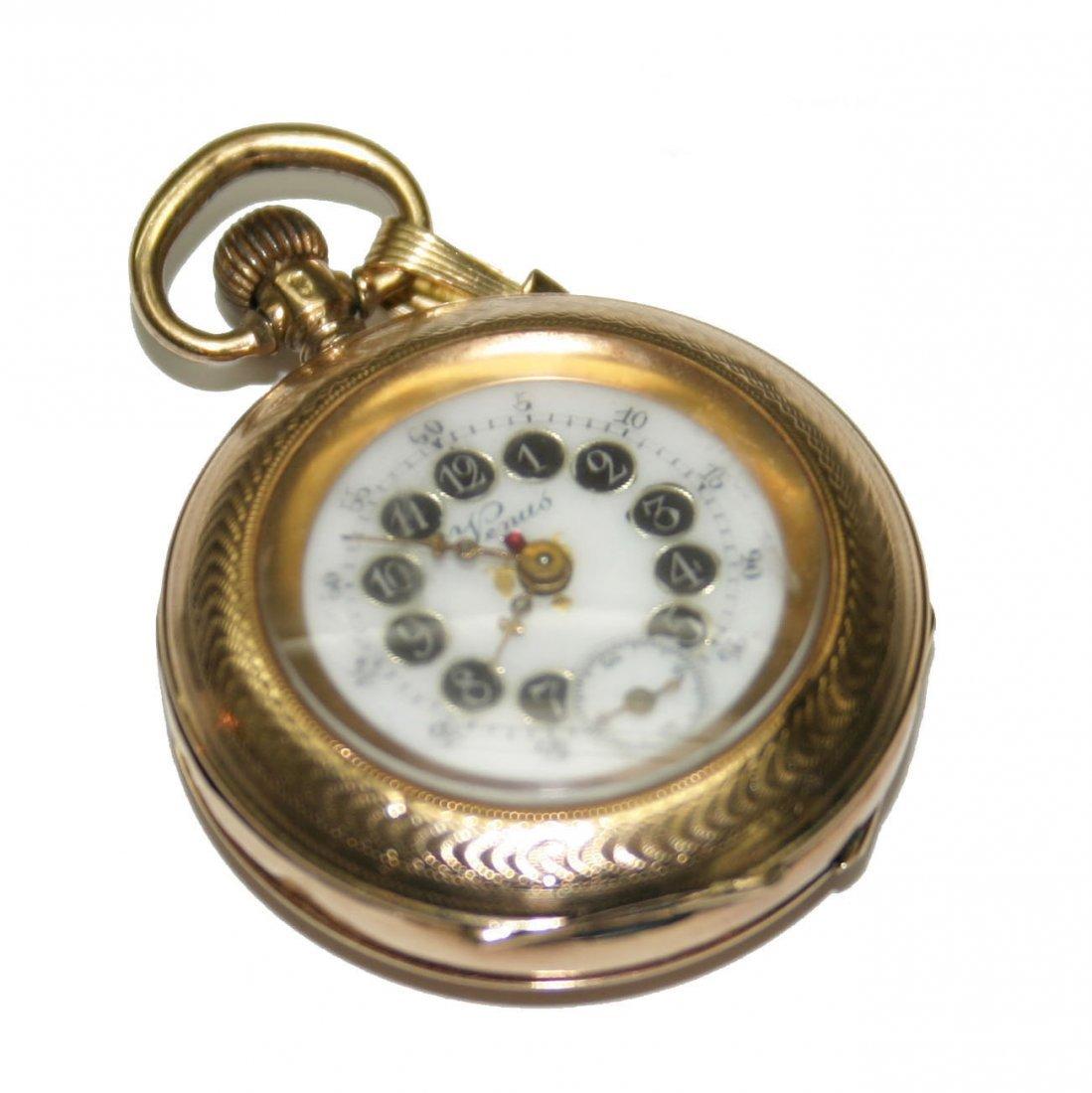 Venus 14k Gold Mini Pocket Watch (2576)