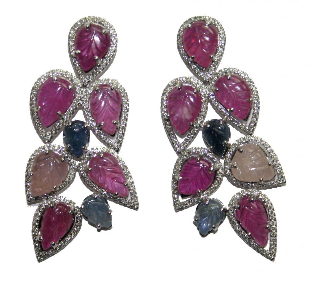 14k Gold 35 ct diamond & multi color gem earrings  (M)