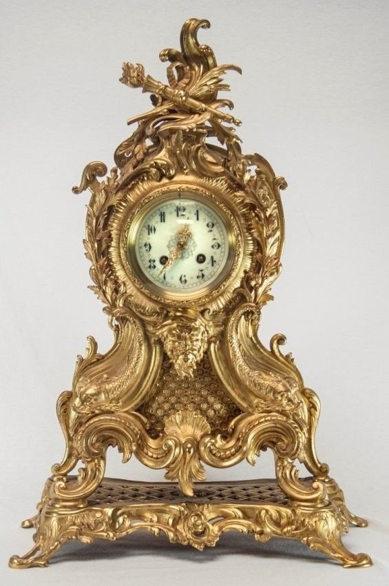 Antique French Rococo Mantle Clock