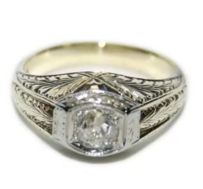 Antique 14 kt white gold 0.50 ct diamond ring 8 GR