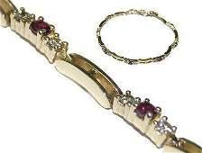 14k Yellow Gold 2 ct Diamond & Ruby Bracelet 11 GR