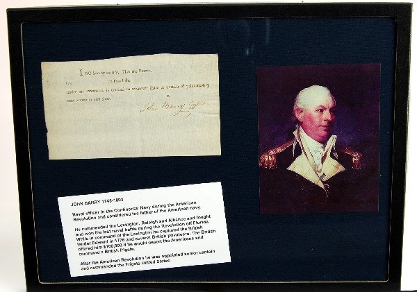 583: Signature John Barry, Capt. on Privateering Doc