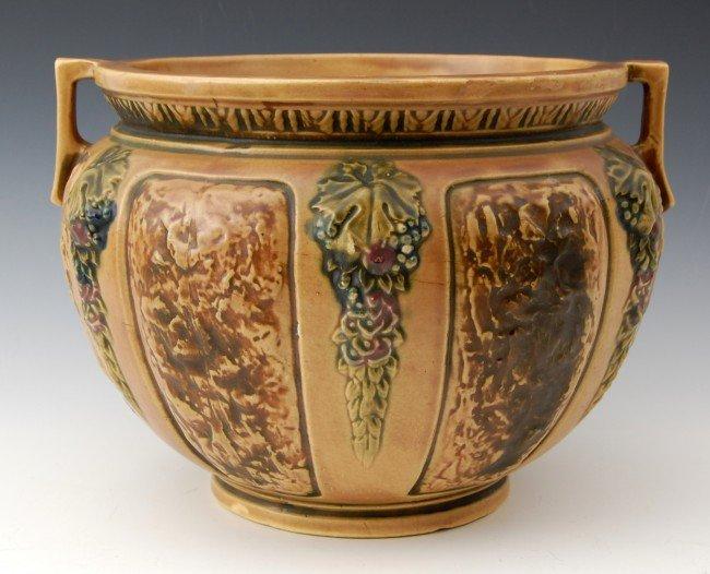 "107: Art Pottery, Jardiniere, grapes  11 Diameter"""
