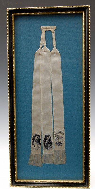 123: Silk Weaving - Triptych Ribbons  Jesus, Mary & La