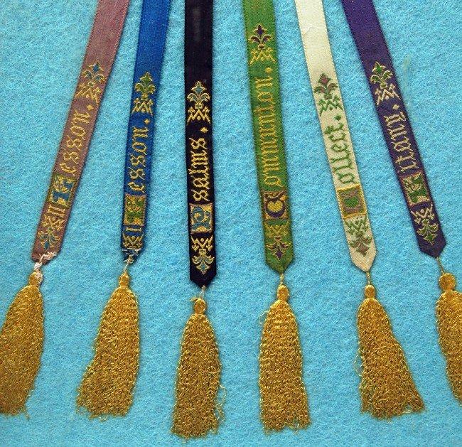 124: Silk Weavings - 6 Religious Ribbons