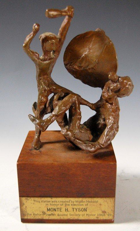 "401: Bronze, 'David & Goliath by M. Hebald, b. 1917"""
