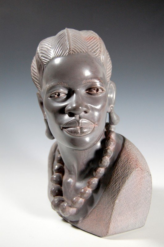 413: Sculpture, African woman by Noel Fombe