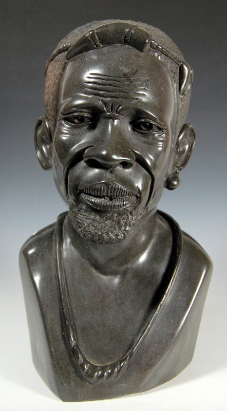 414: Sculpture, African military officer by Barnabas To