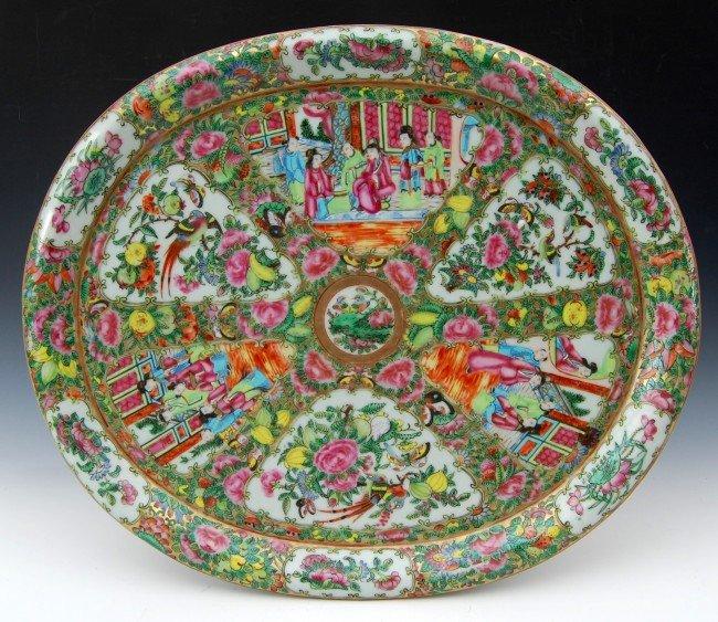 """416: Rose Medallion  16 Oval  Platter"""""""