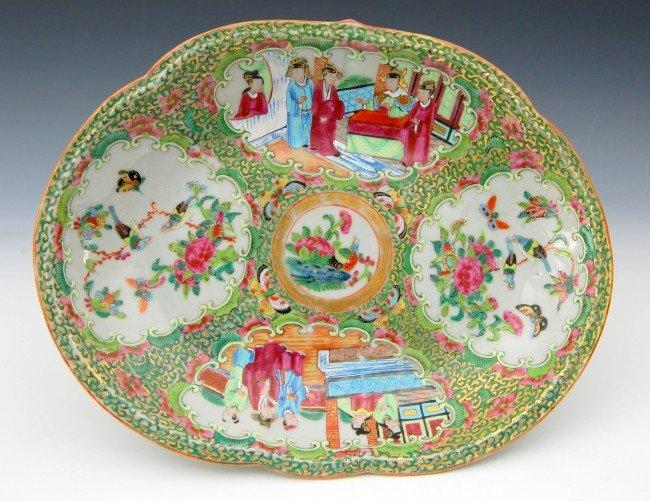 417: Rose Medallion Birds & Butterflies Serving Dish