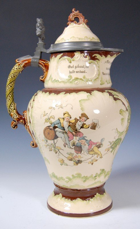 424: Pitcher, Mettlach, early 20th century