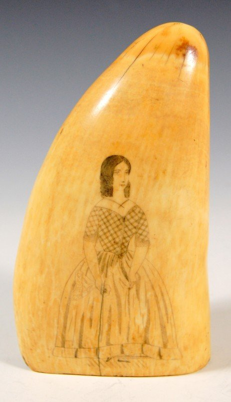 693: Whale's tooth engraved with a portrait of a woman