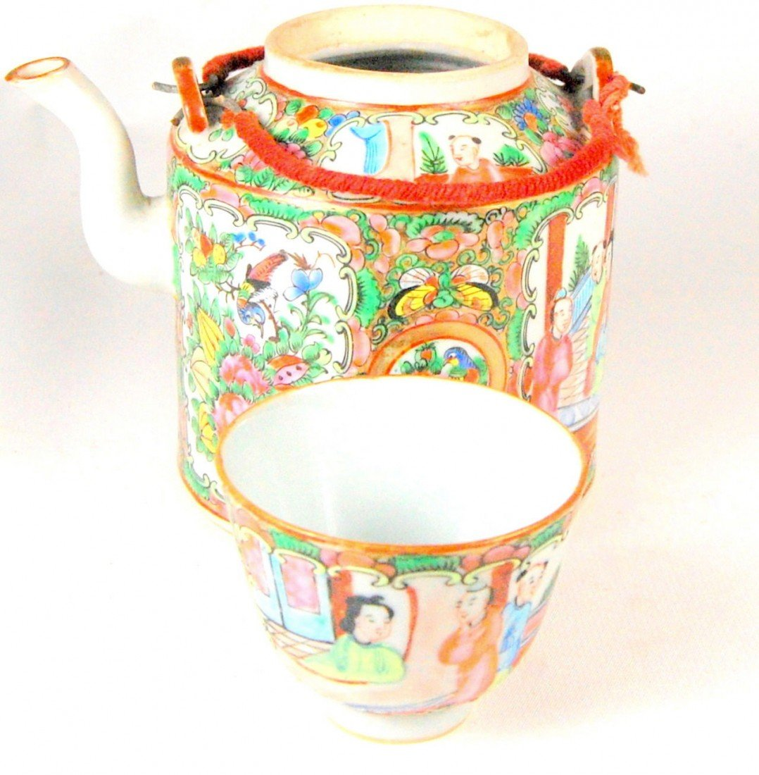 103: Small Rose Medallion, Teapot, cup in Basket Rose m
