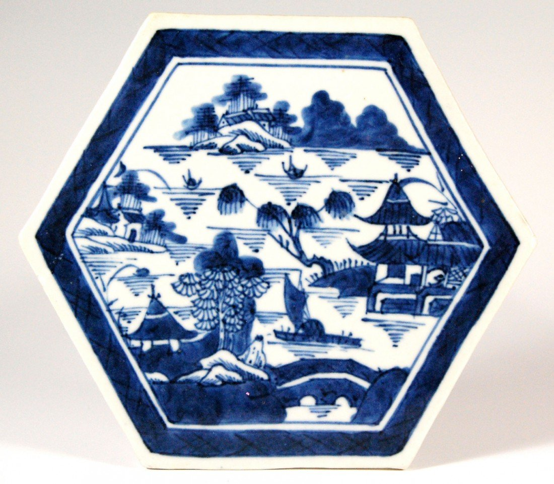109: (2)Canton Tiles- China Two Canton tiles marked Chi
